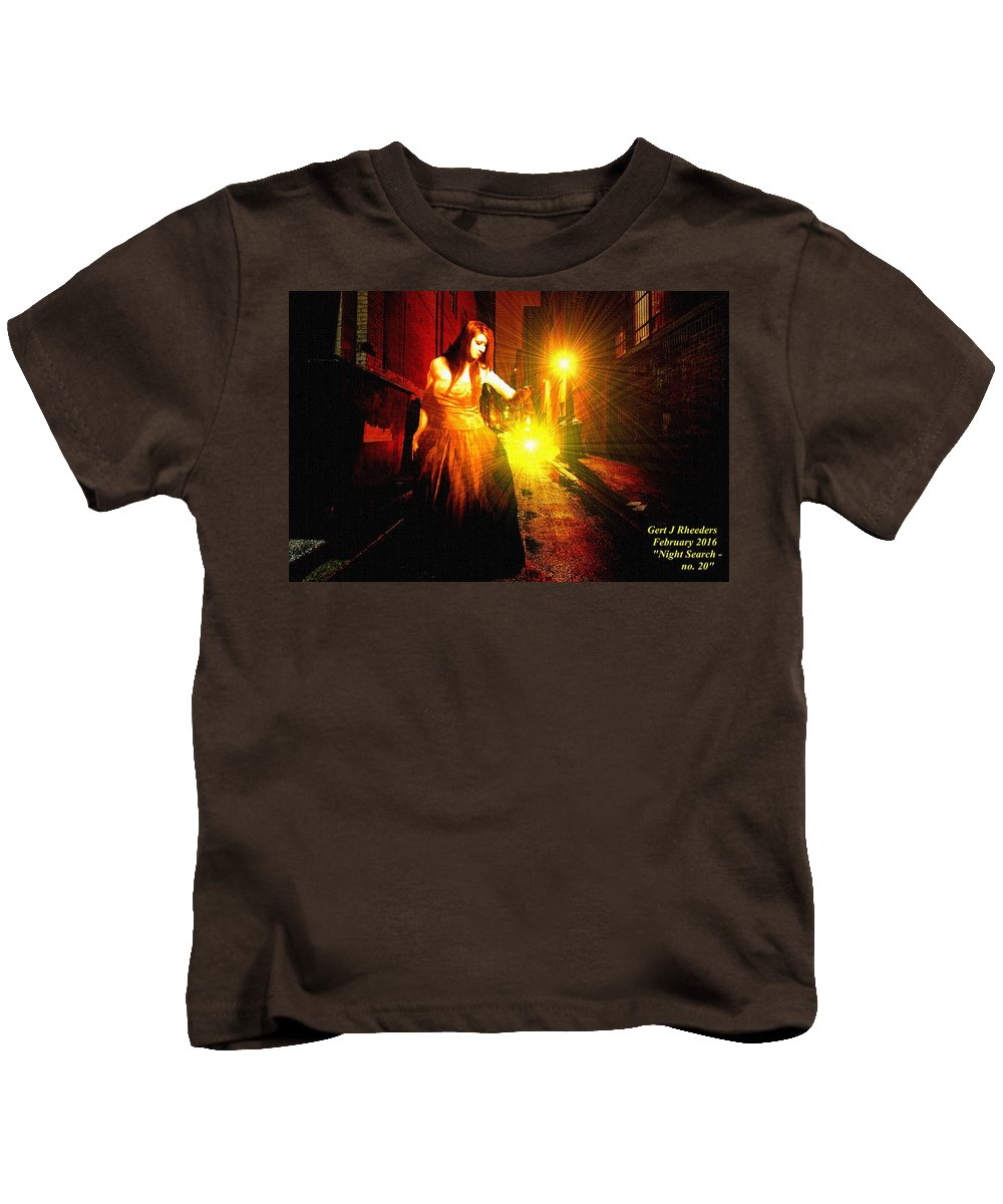 Night Kids T-Shirt featuring the painting Night Search No. 20 L A by Gert J Rheeders