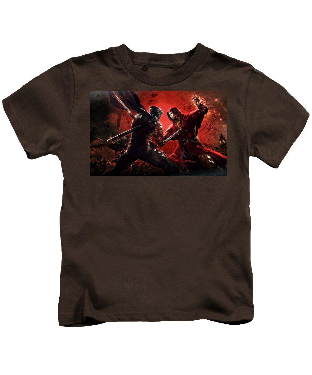 Ninja Gaiden 3 Kids T-Shirt featuring the digital art Ninja Gaiden 3 by Dorothy Binder