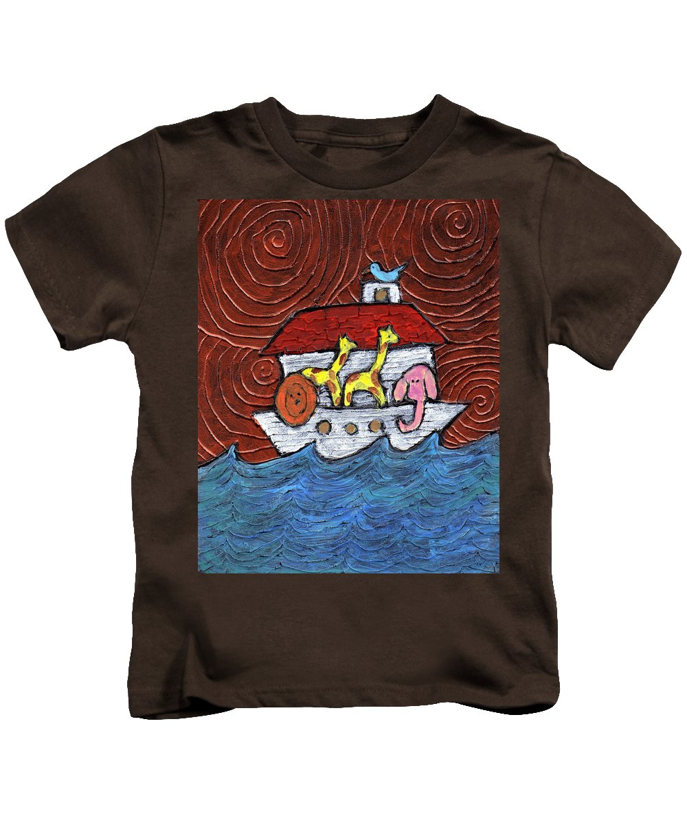 Noah Kids T-Shirt featuring the painting Noahs Ark With Blue Bird by Wayne Potrafka