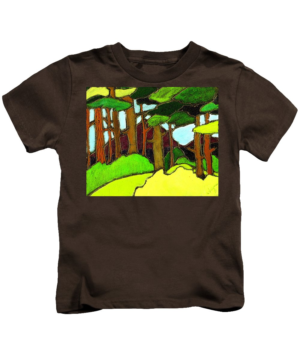 Trees Kids T-Shirt featuring the painting Northern Pathway by Wayne Potrafka