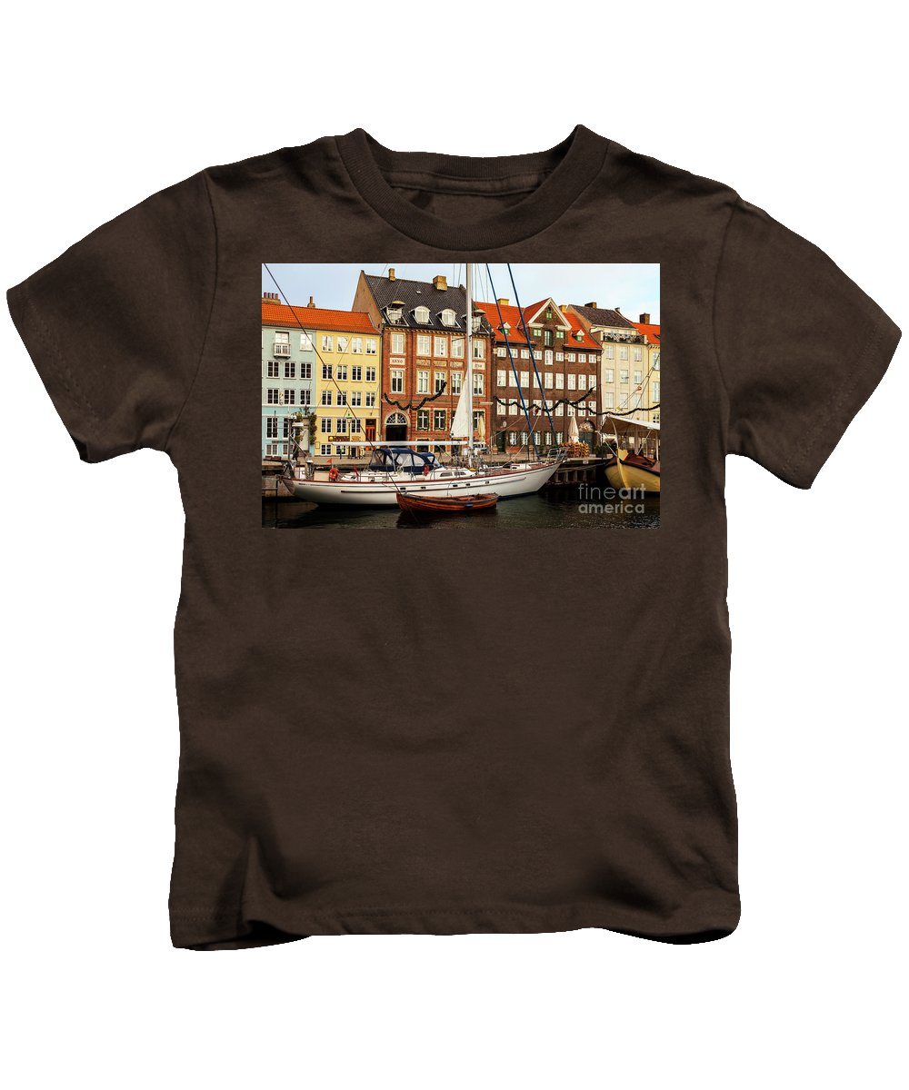Christmas Kids T-Shirt featuring the photograph Nyhavn Area Of Copenhagen by Sophie McAulay