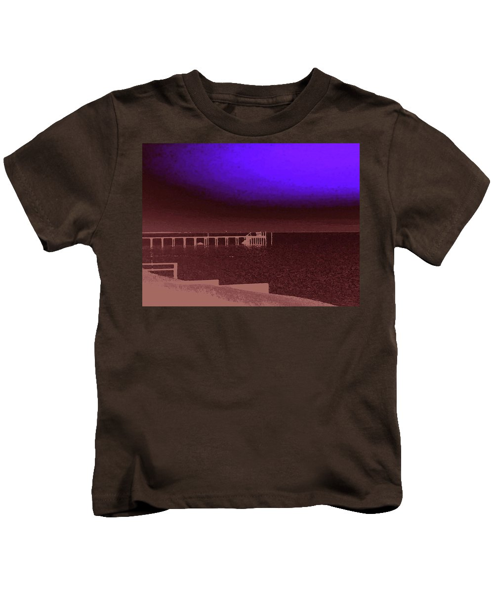 Ocracoke Kids T-Shirt featuring the photograph Ocracoke Shoreline Pier by Wayne Potrafka