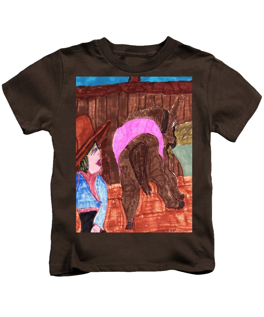 An Old Horse Eating Hay With His Owner In The Barn Near Her Kids T-Shirt featuring the mixed media Old Blue by Elinor Helen Rakowski