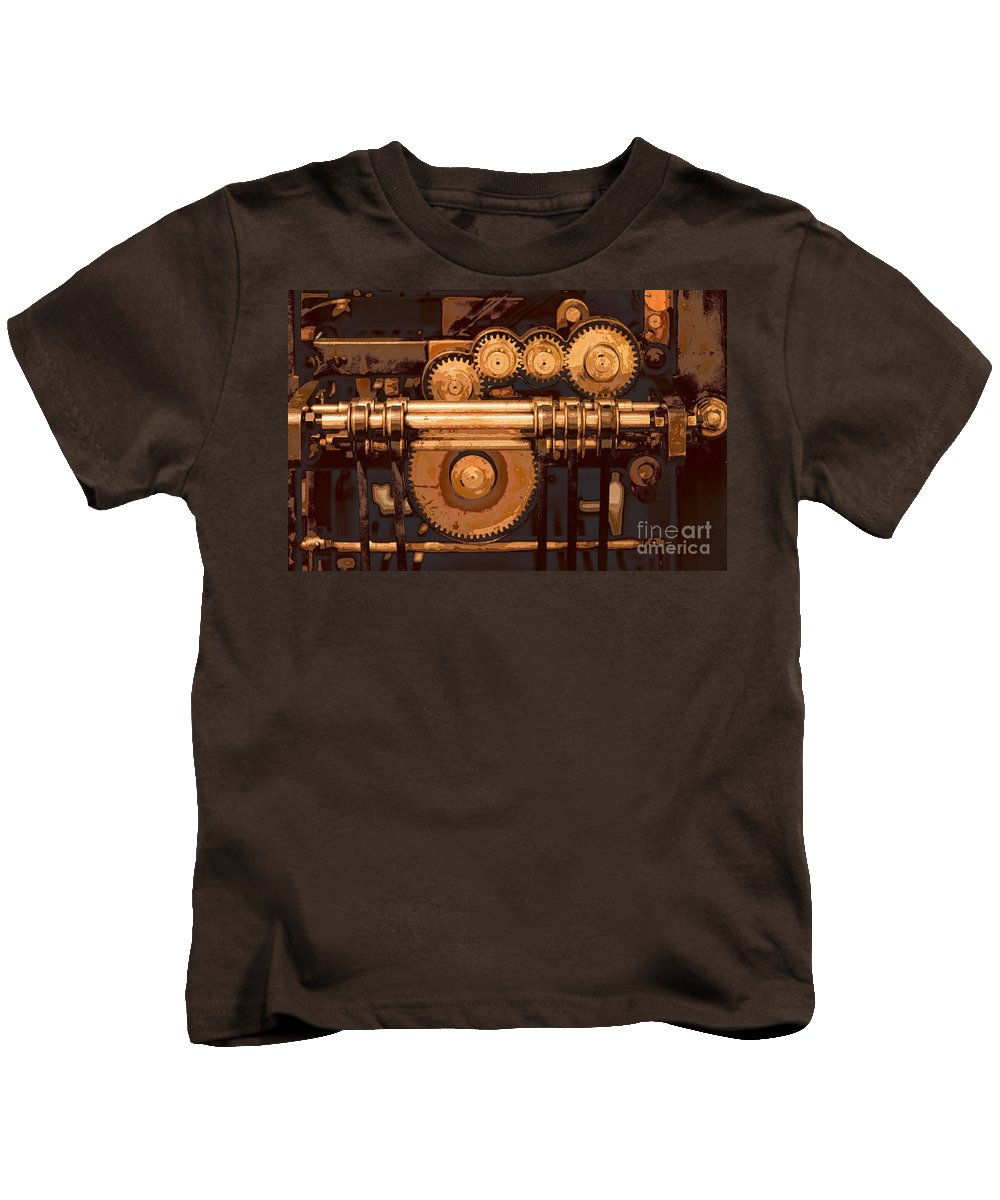 Machine Kids T-Shirt featuring the digital art Old Printing Press by Ari Salmela