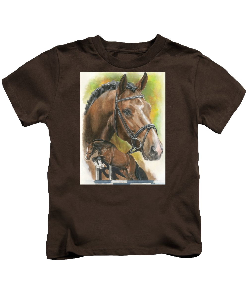 Hunter Jumper Kids T-Shirt featuring the mixed media Oldenberg by Barbara Keith
