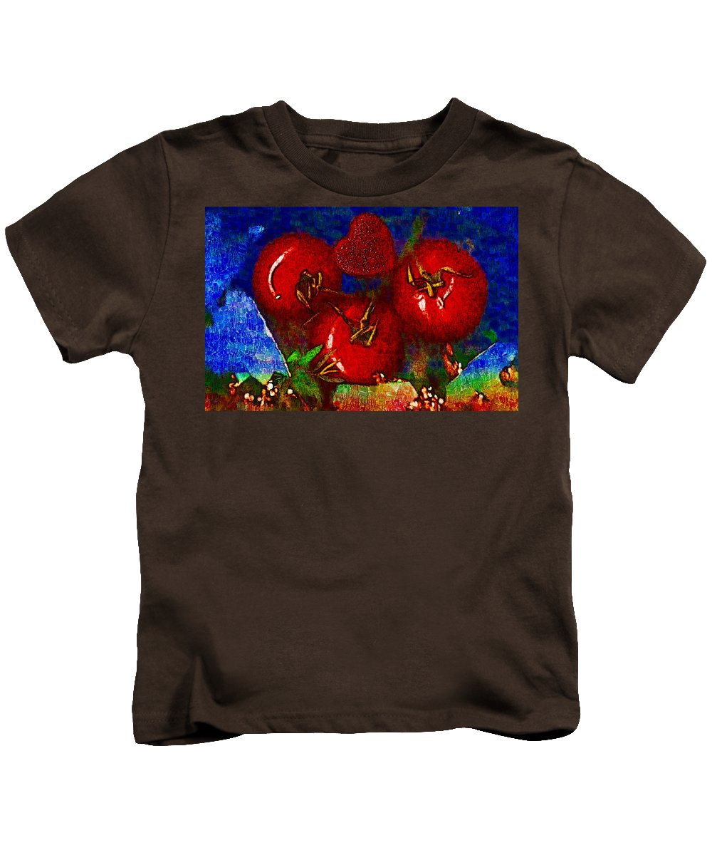 Tomatoes Kids T-Shirt featuring the mixed media One Of Those Beautiful Still Life by Pepita Selles