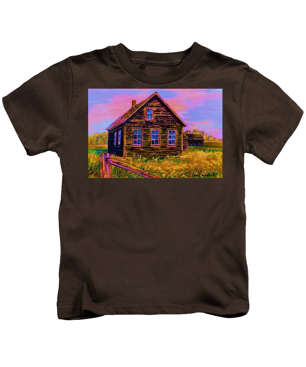 Western Art Kids T-Shirt featuring the painting One Room Schoolhouse by Carole Spandau