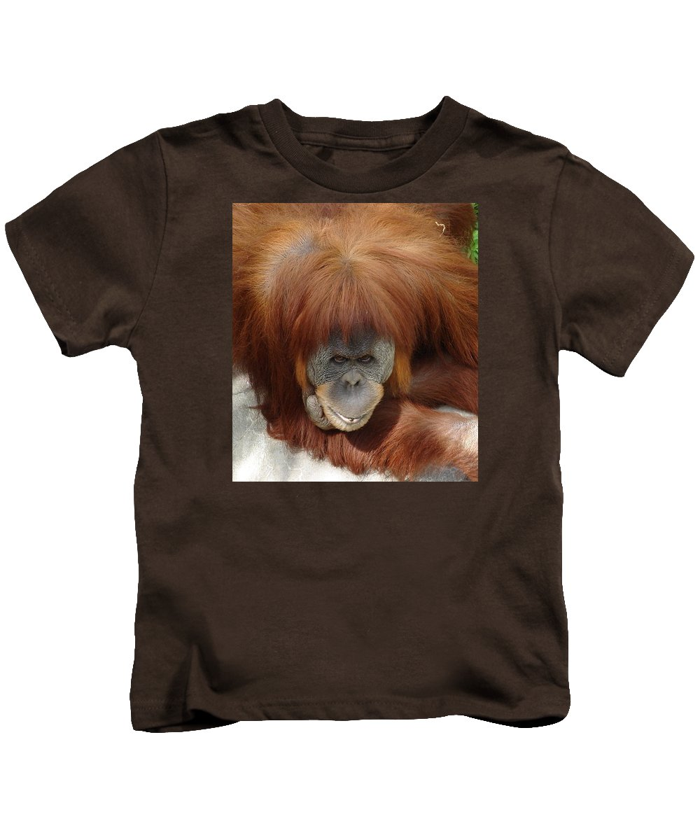 Red Ape Eyes Kids T-Shirt featuring the photograph Orangutan by Luciana Seymour