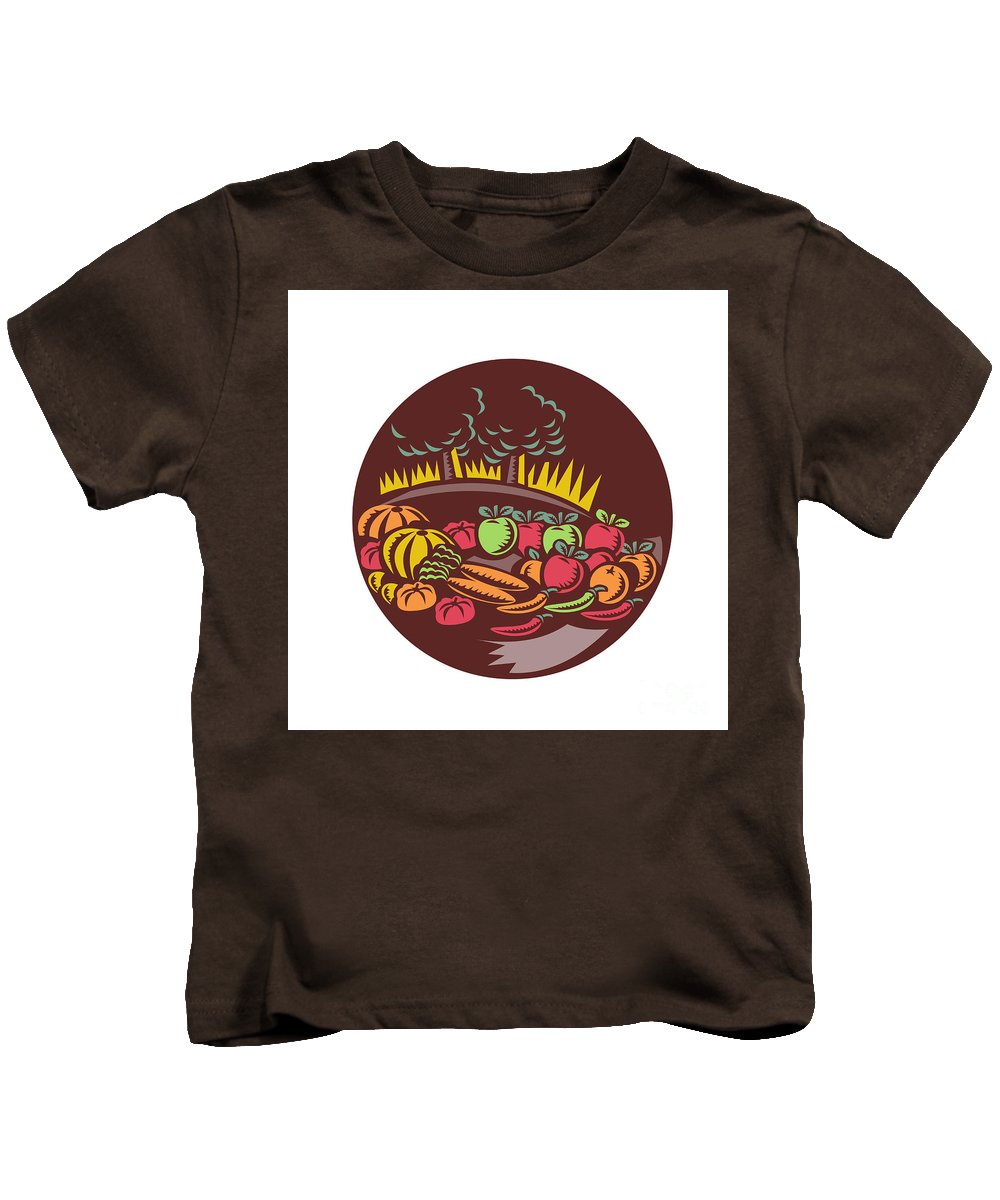 Pumpkin Kids T-Shirt featuring the digital art Orchard Crop Harvest Circle Woodcut by Aloysius Patrimonio