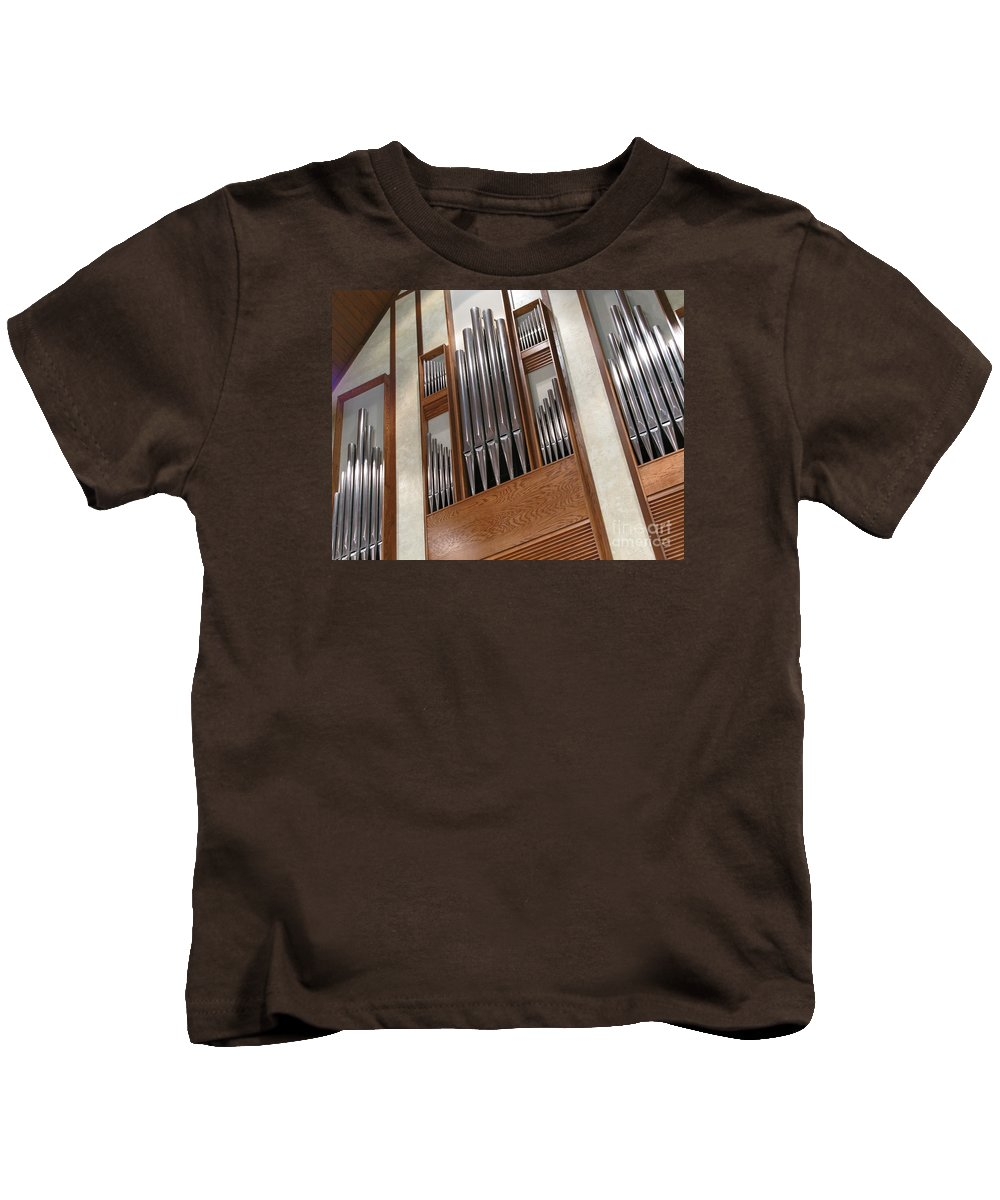 Music Kids T-Shirt featuring the photograph Organ Pipes by Ann Horn