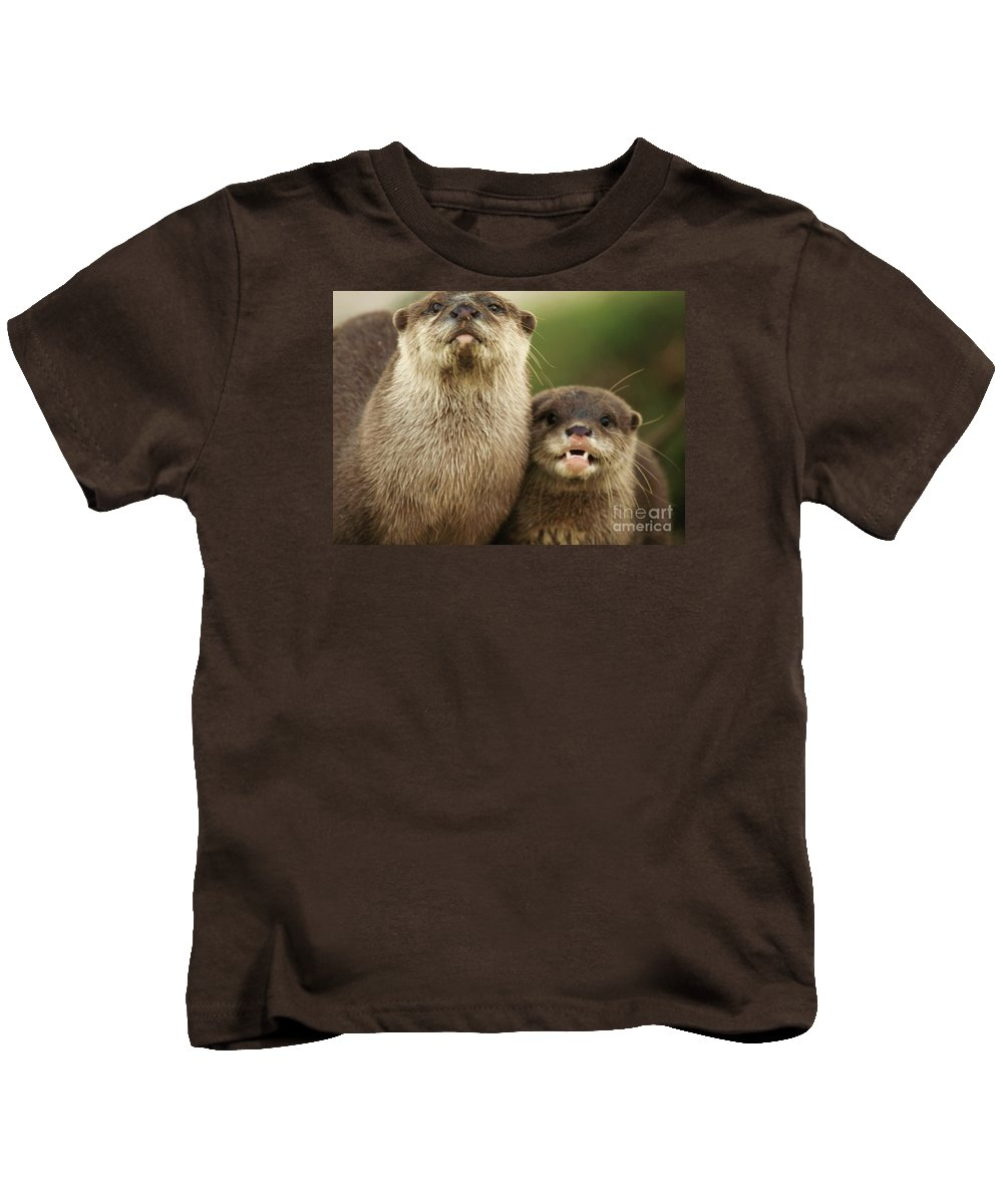 Animal Kids T-Shirt featuring the photograph Otter And Cub by Franco De Luca Calce Wildlife Photographer