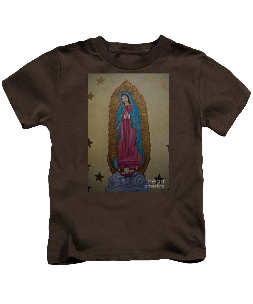 Mary Kids T-Shirt featuring the painting Our Lady Of Guadalupe by Wendy Wunstell