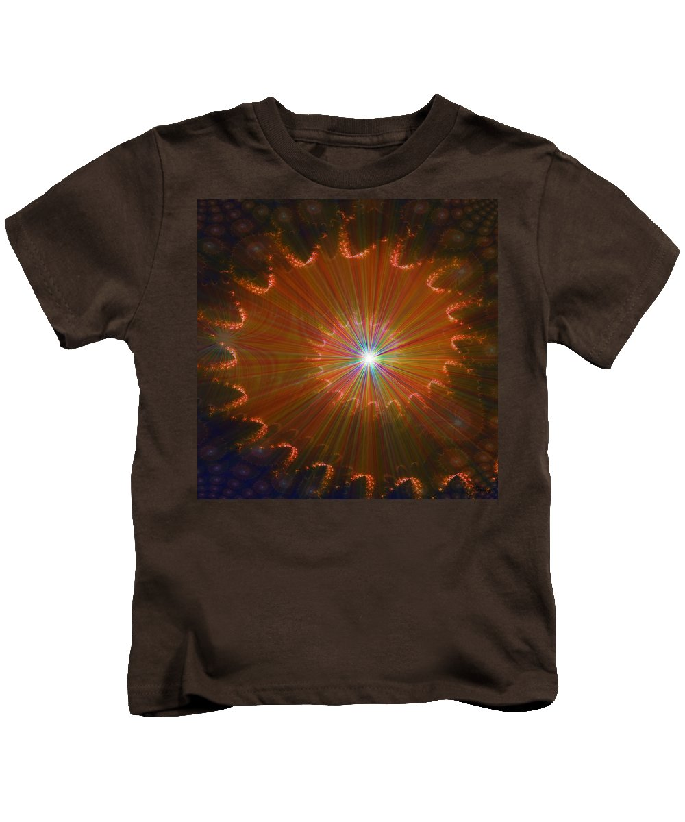 Super Nova Stars Another World Universe Abstract Spectrum Colorful Kids T-Shirt featuring the digital art Out Of Control by Andrea Lawrence