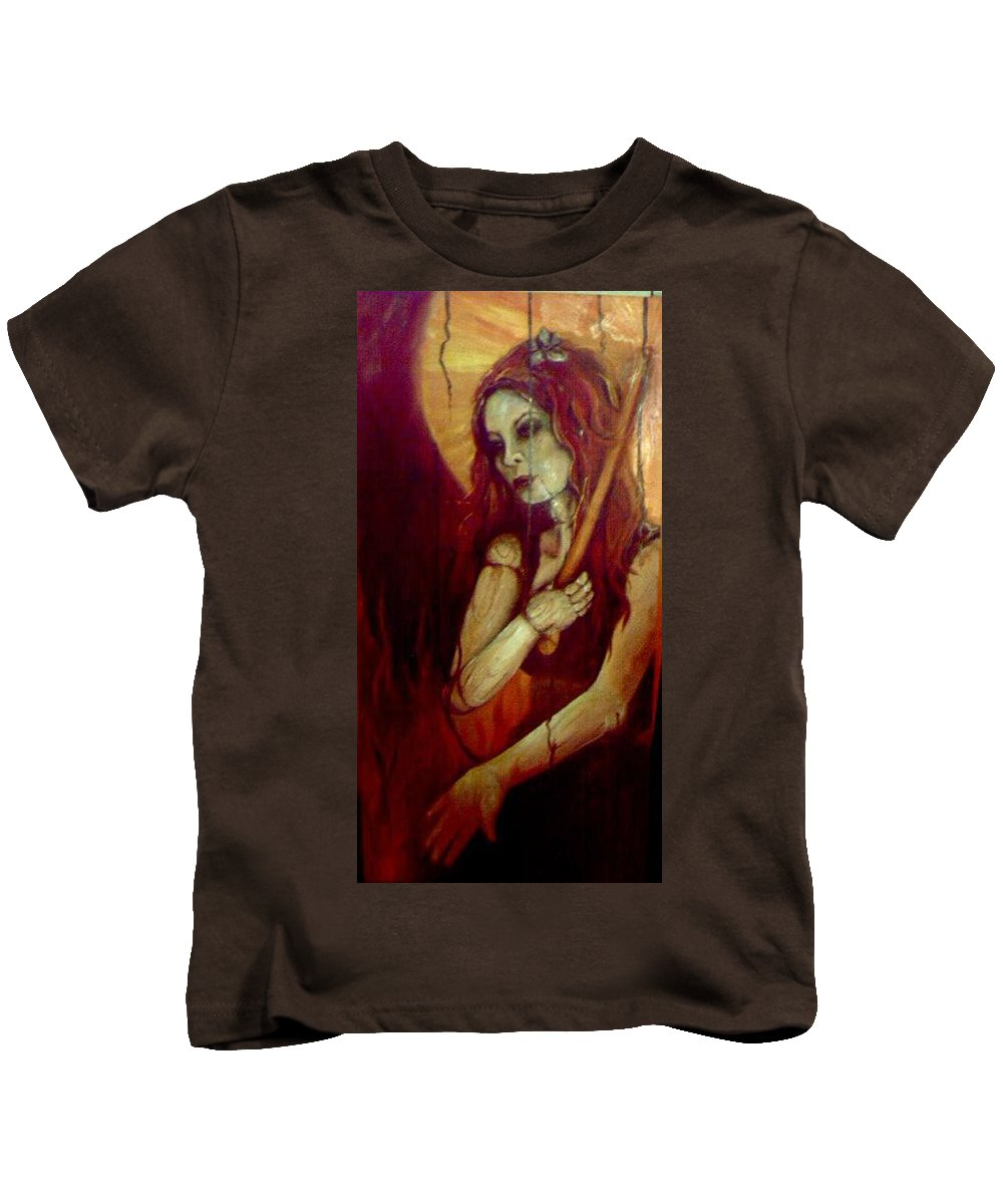 Fire Kids T-Shirt featuring the painting Out Of The Fire by Stephanie Broker