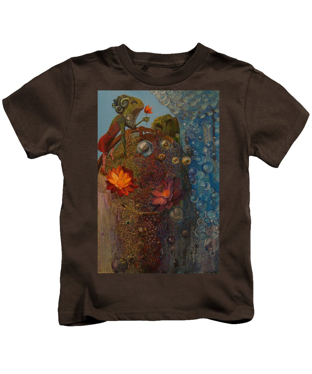 Surreal Kids T-Shirt featuring the painting Over The Rainbow by Mindy Huntress