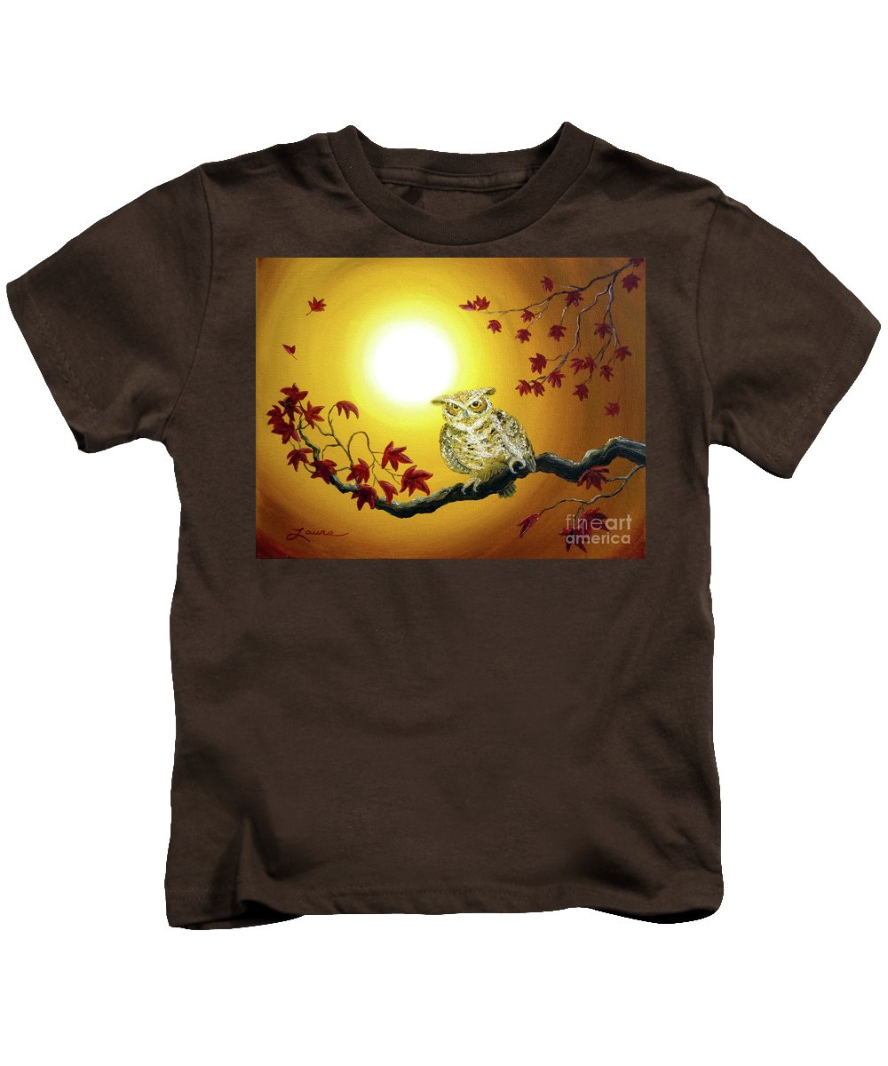 Zen Kids T-Shirt featuring the painting Owl In Autumn Glow by Laura Iverson