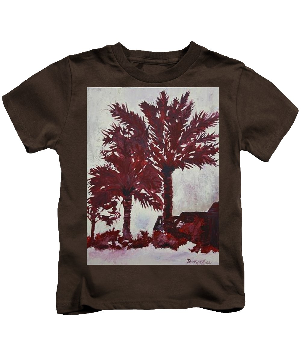 Palm Trees Kids T-Shirt featuring the painting Palm Trees Acrylic Modern Art Painting by Derek Mccrea