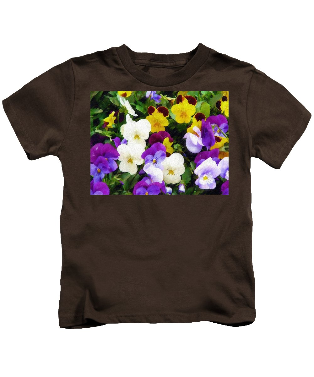 Pansies Kids T-Shirt featuring the photograph Pansies by Sandy MacGowan