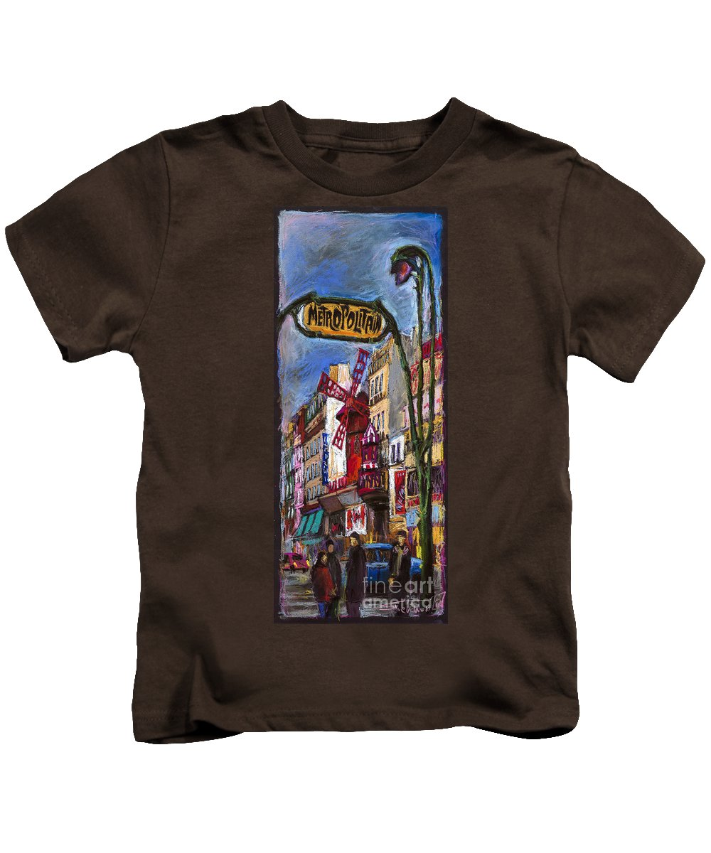 Cityscape Kids T-Shirt featuring the painting Paris Mulen Rouge by Yuriy Shevchuk