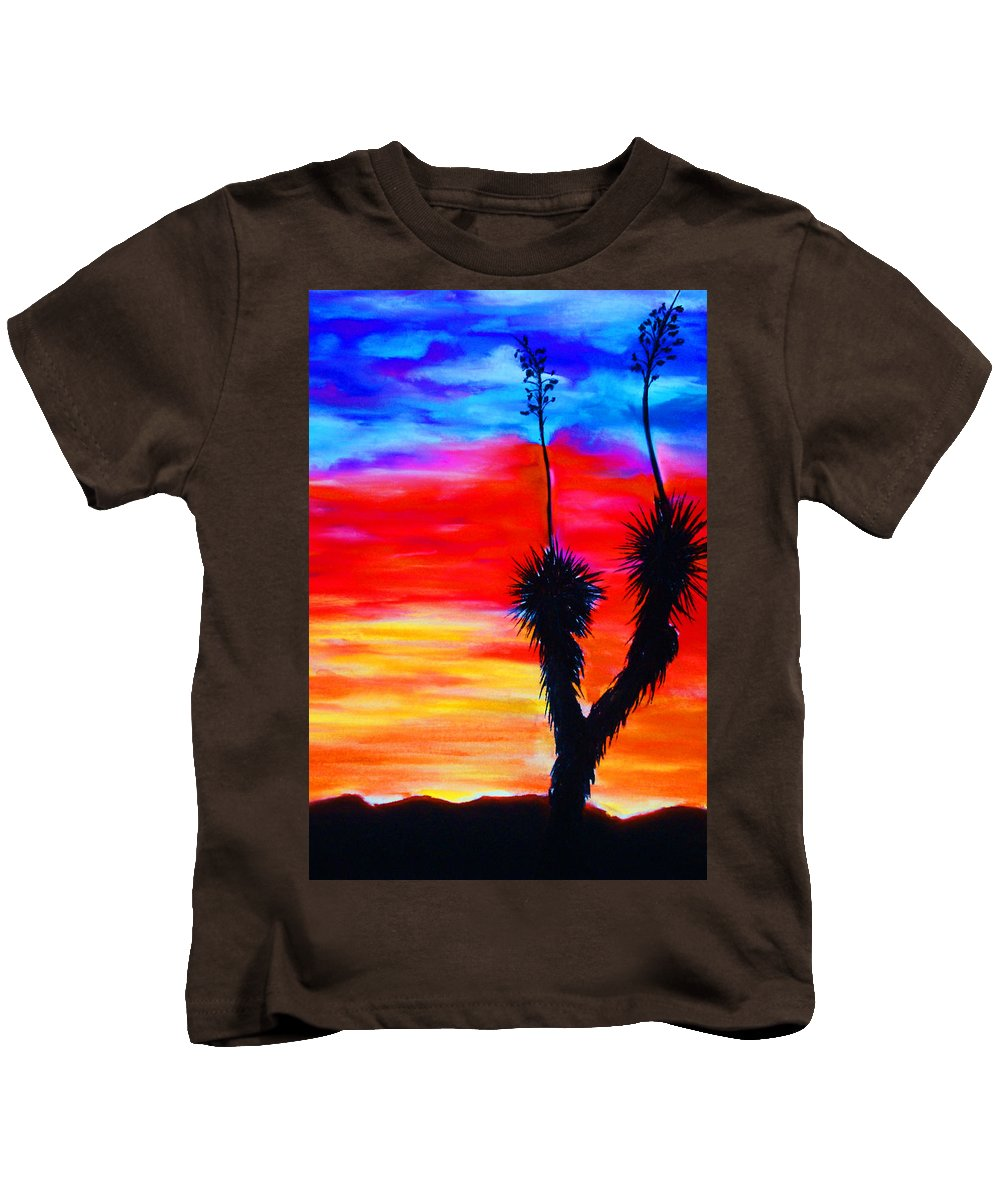 Sunset Kids T-Shirt featuring the painting Paso Del Norte Sunset 1 by Melinda Etzold