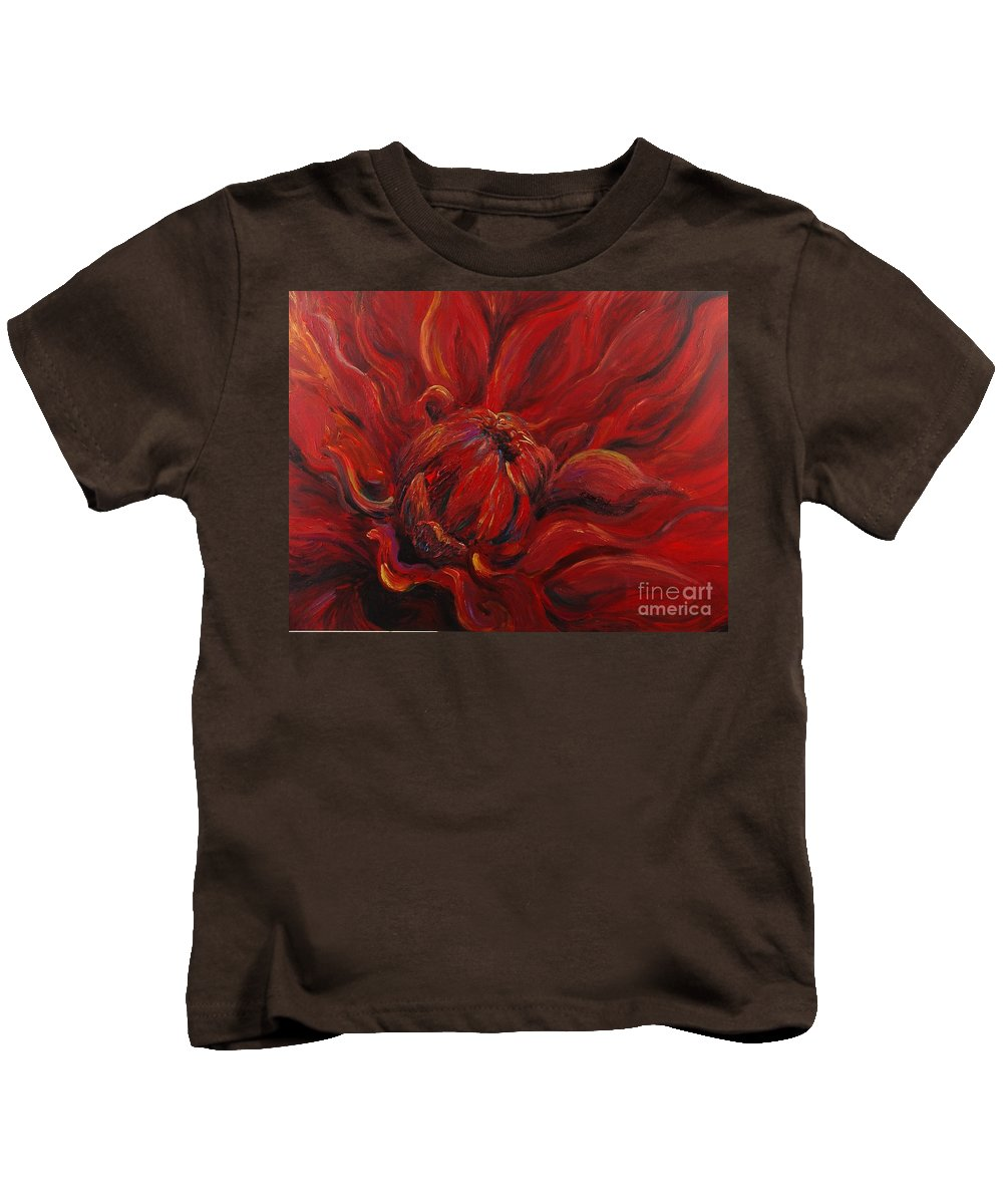 Red Kids T-Shirt featuring the painting Passion II by Nadine Rippelmeyer