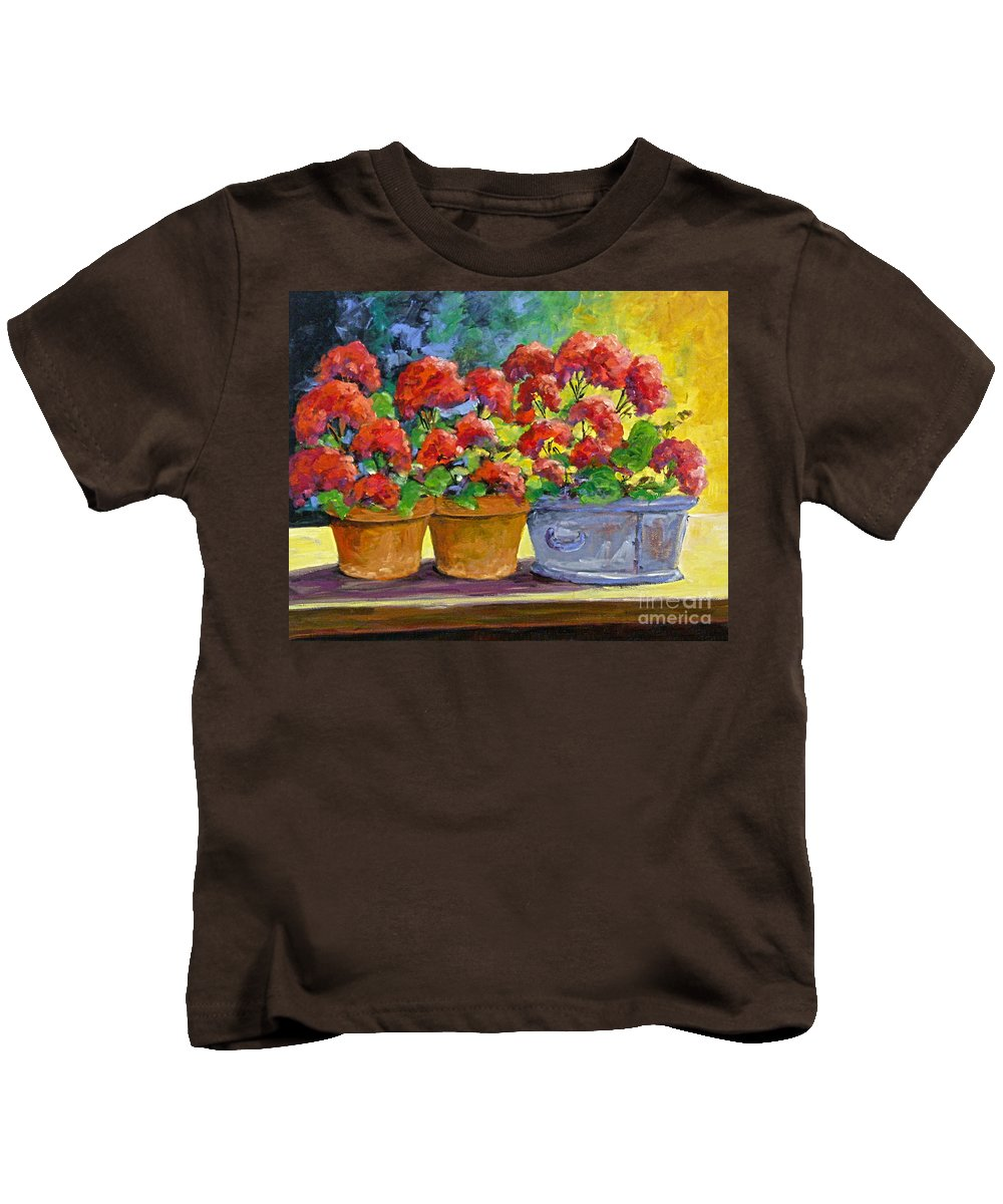 Still Life; Geraniums; Flowers; Terra Cotta; Red; Blue; Yellow; Green; Pranke; Kids T-Shirt featuring the painting Passion In Red by Richard T Pranke
