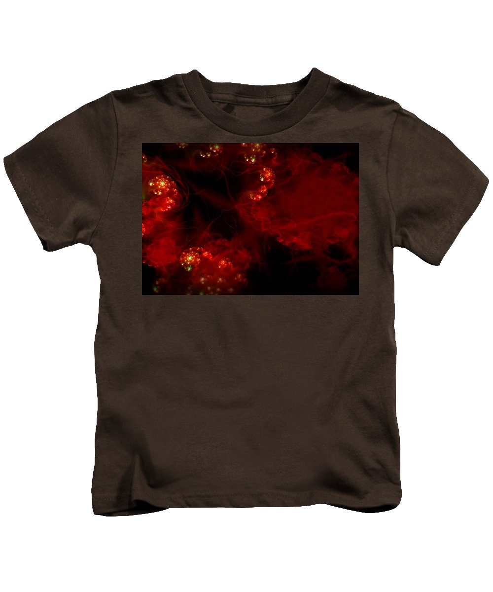 Passion Red Explosion Expression Blood Heart Kids T-Shirt featuring the digital art Passional by Veronica Jackson
