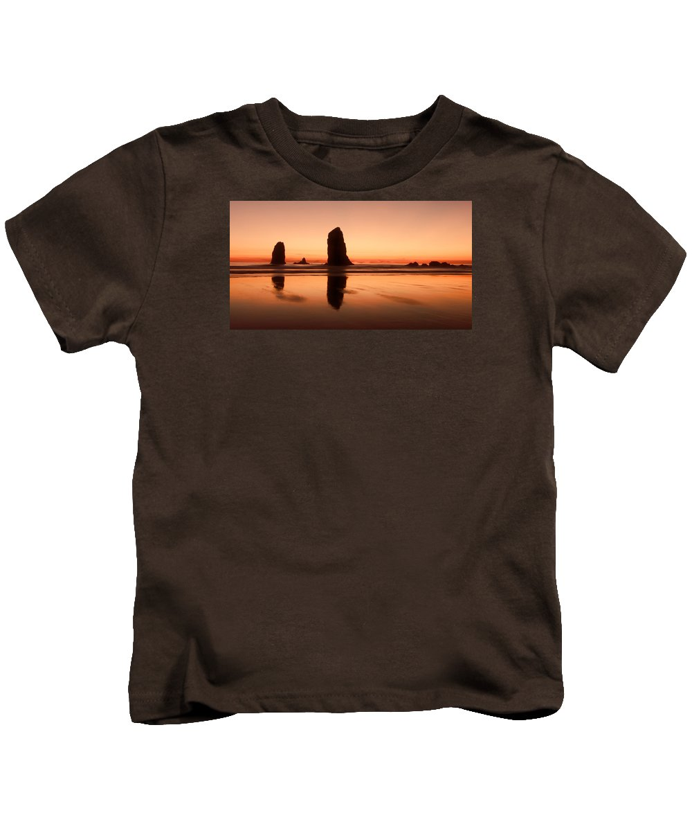 Cannon Beach Kids T-Shirt featuring the photograph Pastel Evening On The Oregon Coast by Don Schwartz