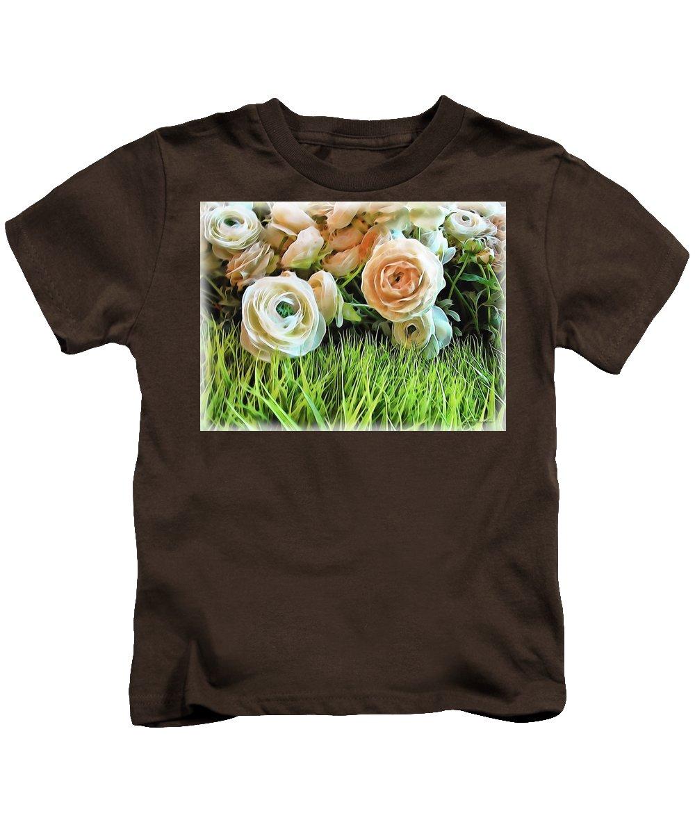 Rose Kids T-Shirt featuring the digital art Pastel Roses by Joan Minchak