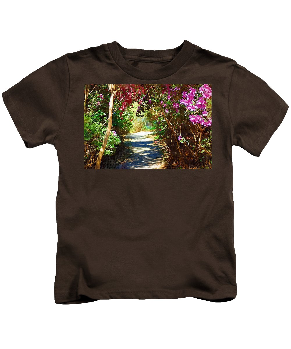 Landscape Kids T-Shirt featuring the digital art Path To The Gardens by Donna Bentley