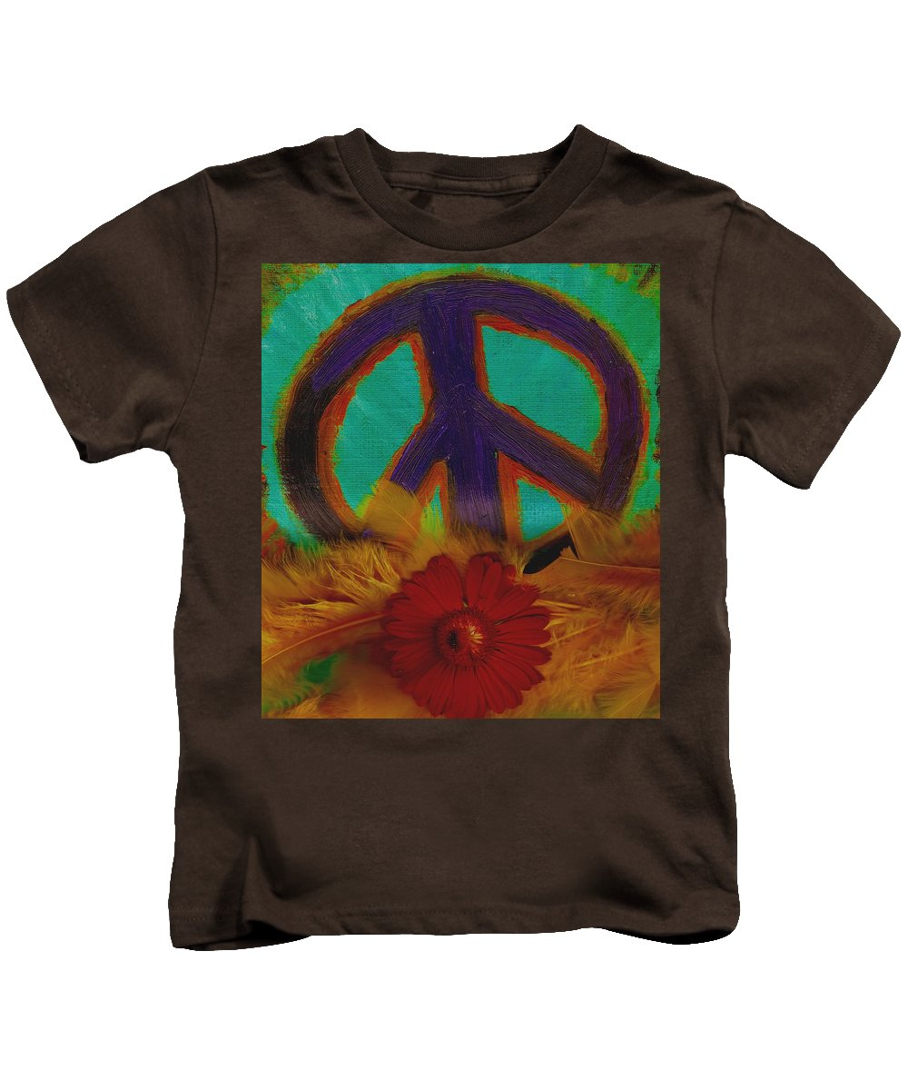 Peace Kids T-Shirt featuring the painting Peace Every Day by Pepita Selles