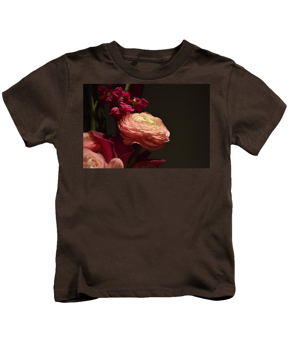 Kids T-Shirt featuring the sculpture Peony In The Spotlight by Nellie Nikolov