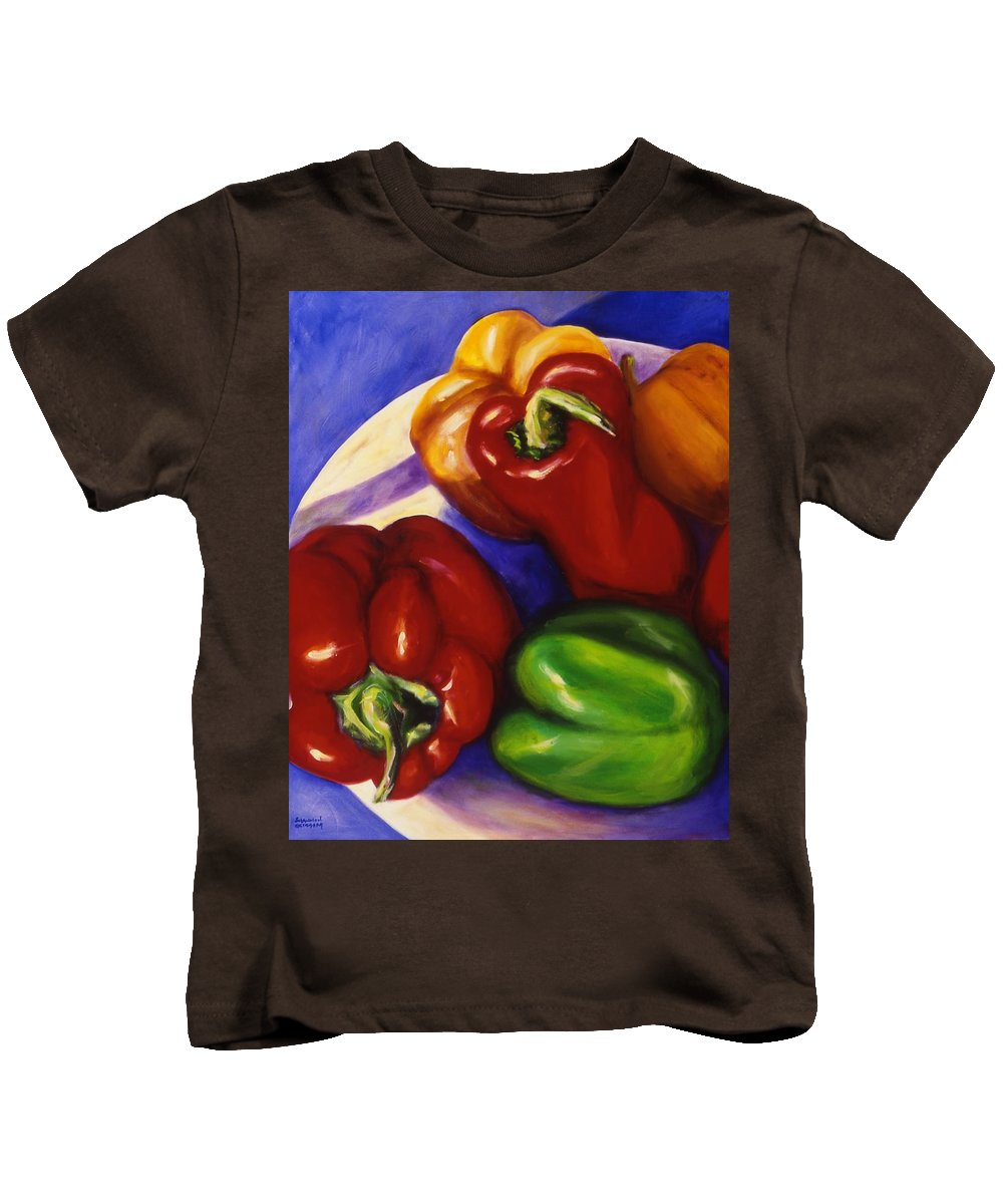 Still Life Peppers Kids T-Shirt featuring the painting Peppers In The Round by Shannon Grissom