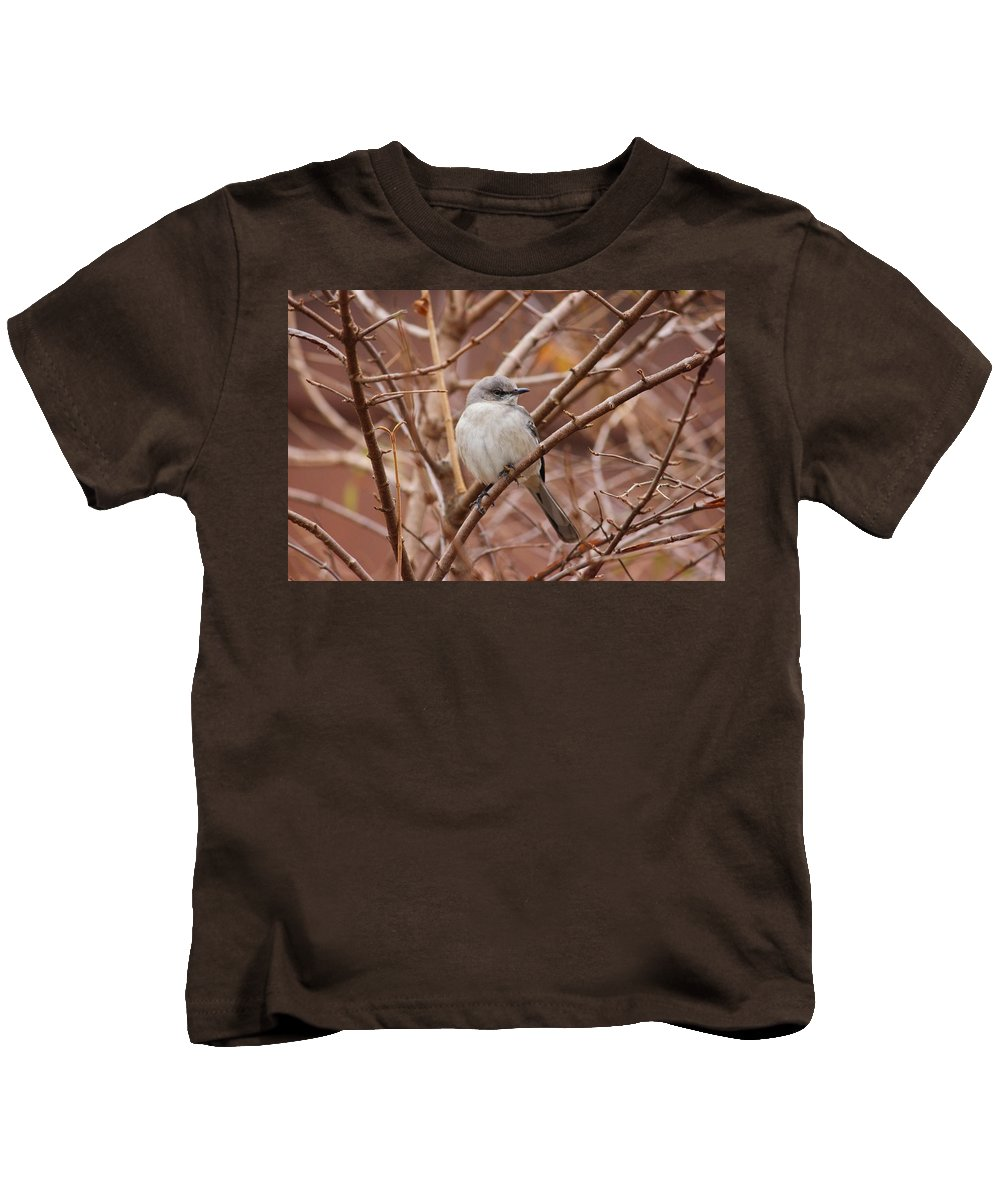 Nature Kids T-Shirt featuring the photograph Perching On A Winter's Day by Aaliyah Muhammad