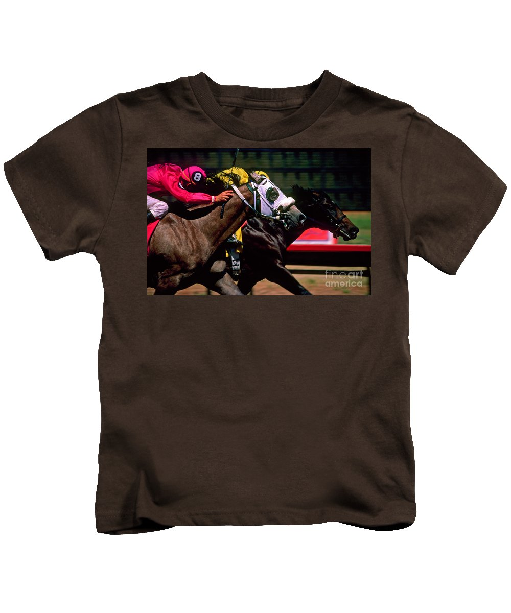 Horse Kids T-Shirt featuring the photograph Photo Finish by Kathy McClure