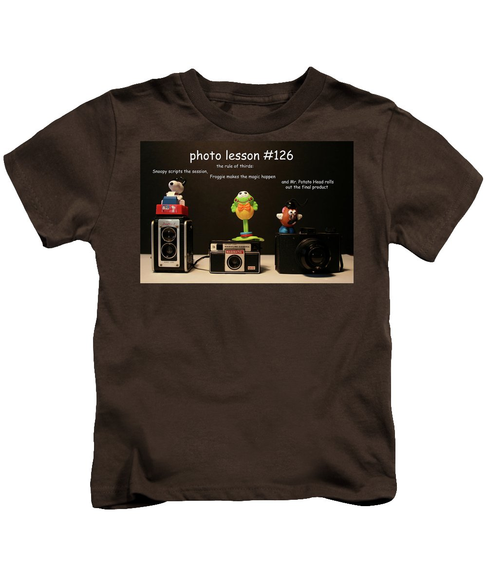 Vintage Cameras Kids T-Shirt featuring the photograph Photo Lesson by Toni Hopper