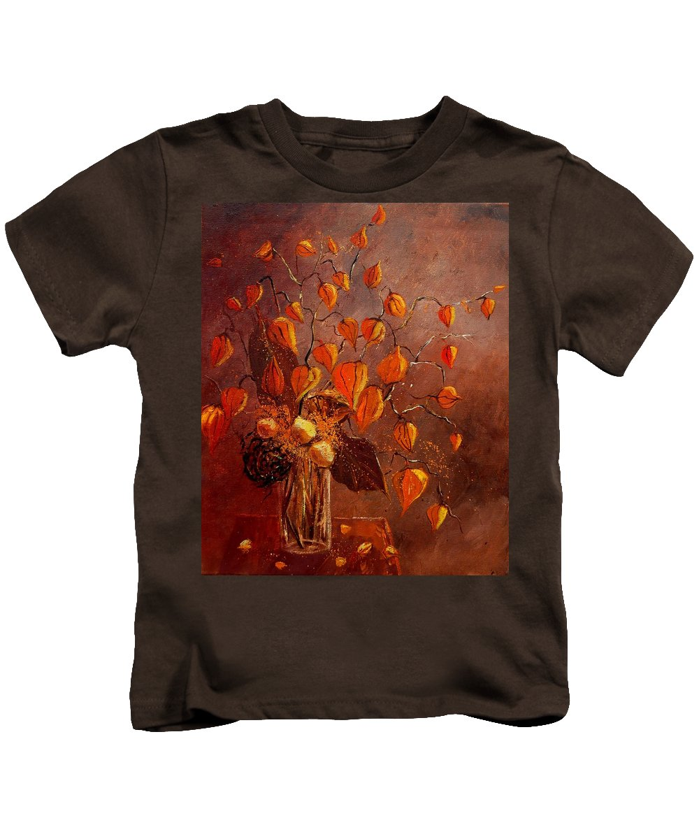 Poppies Kids T-Shirt featuring the painting Physialis by Pol Ledent