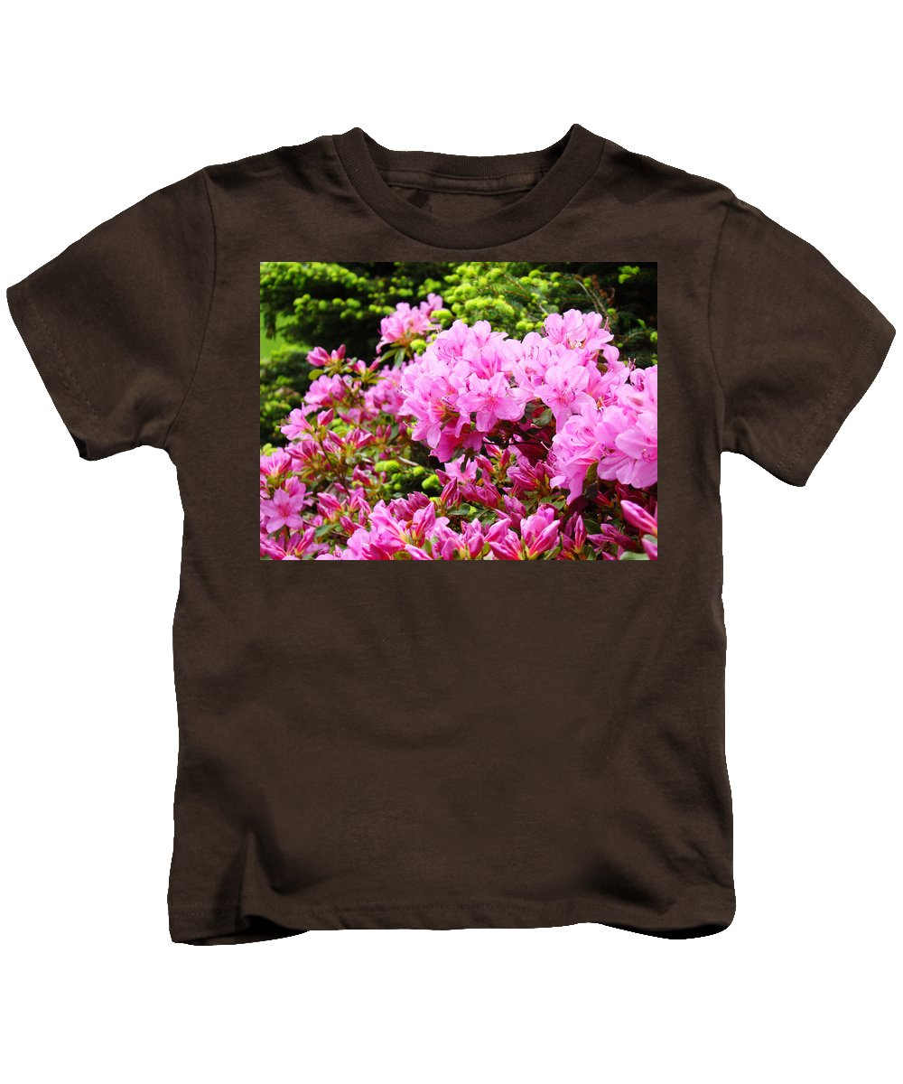 �azaleas Artwork� Kids T-Shirt featuring the photograph Pink Azalea Flowers Landscape 11 Art Prints Canvas Artwork Framed Art Cards by Baslee Troutman