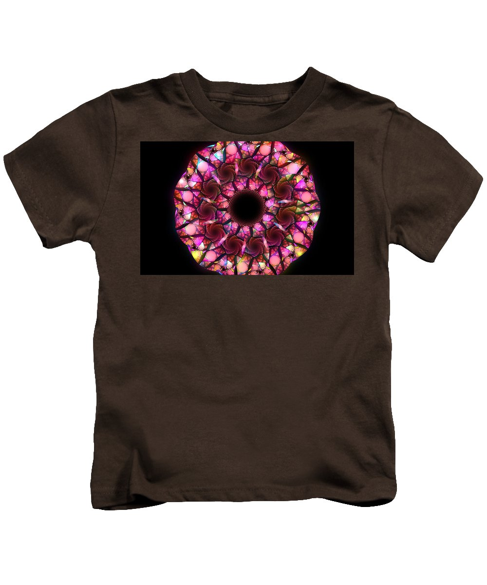 Elena Riim Kids T-Shirt featuring the digital art Pink Round by Elena Riim