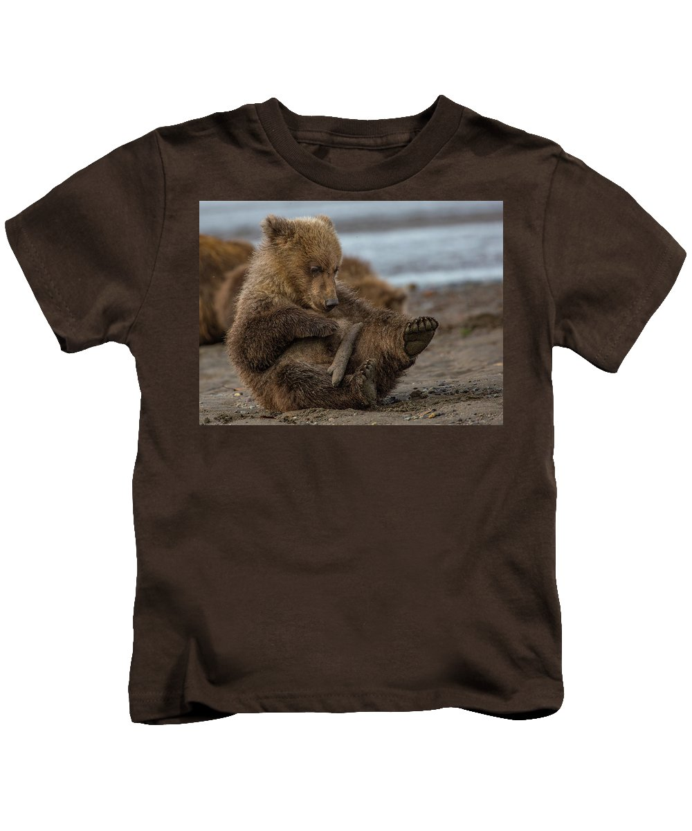 Bear Kids T-Shirt featuring the photograph Play Time by Kathy Whitehurst