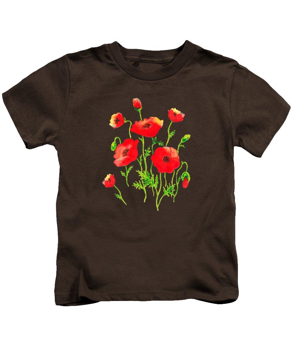 Playful Poppy Flowers Kids T Shirt For Sale By Irina Sztukowski