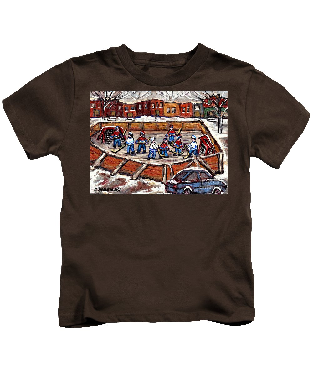 Hockey Rinks Kids T-Shirt featuring the painting Playoff Time At The Local Hockey Rink Montreal Winter Scenes Paintings Best Canadian Art C Spandau by Carole Spandau