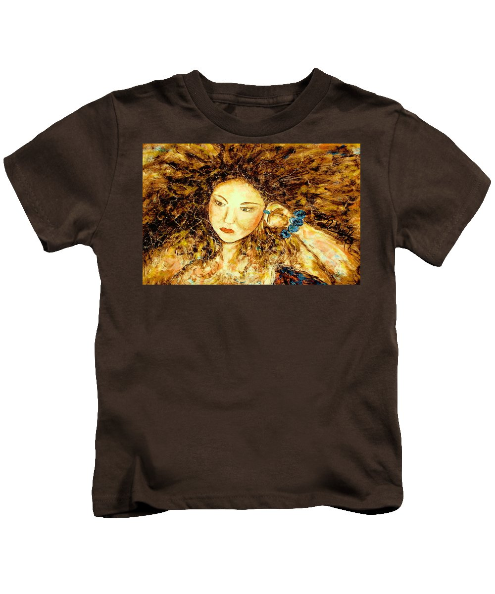 Portrait Kids T-Shirt featuring the painting Poet by Natalie Holland