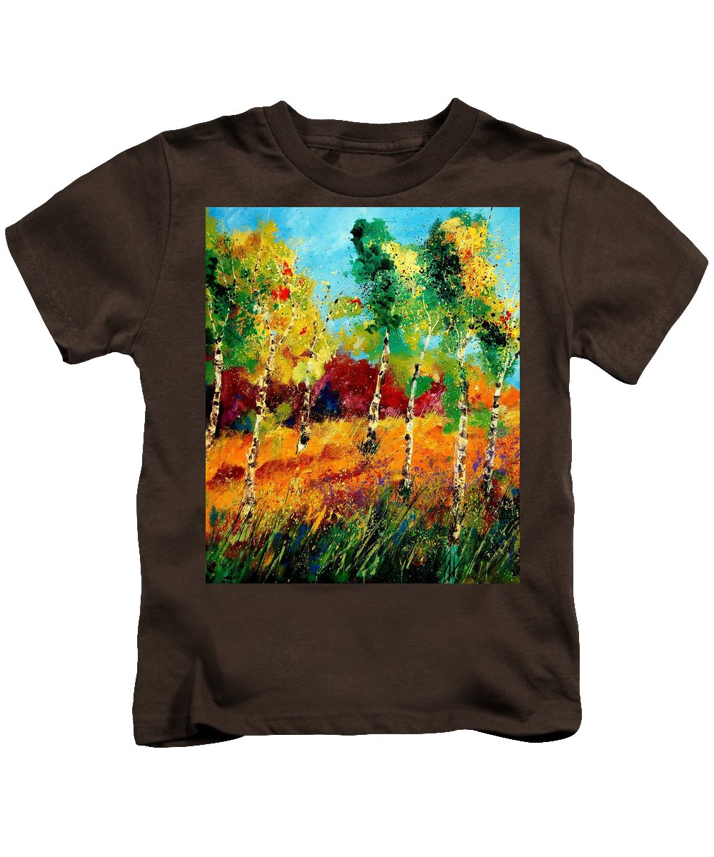 Poppy Kids T-Shirt featuring the painting Poplars '459070 by Pol Ledent