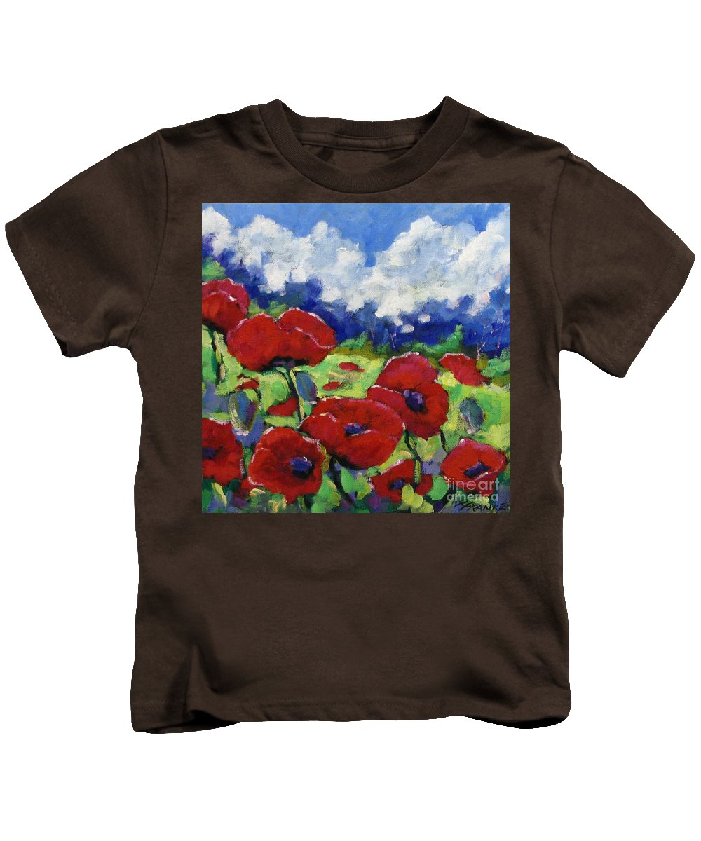 Art Kids T-Shirt featuring the painting Poppies 003 by Richard T Pranke
