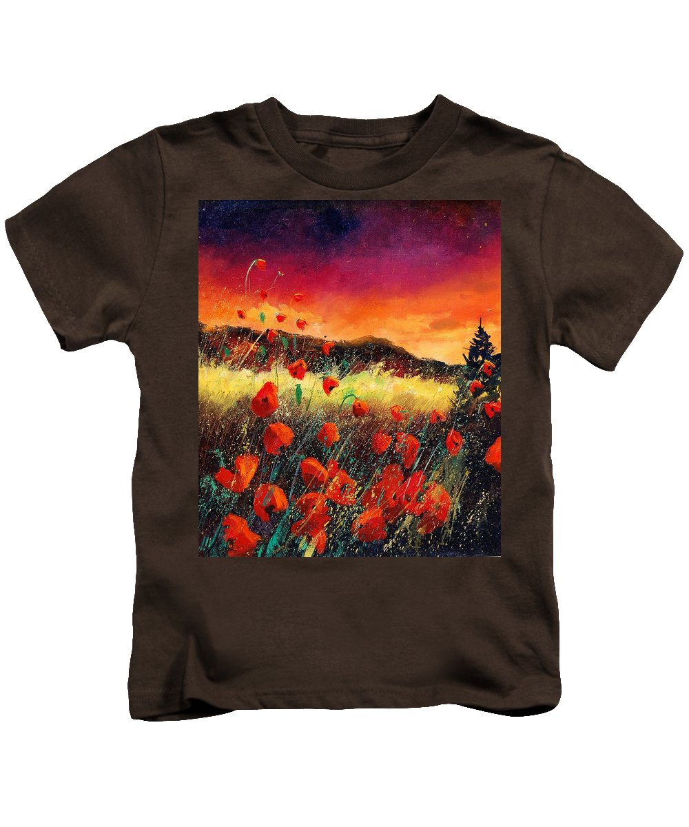 Poppies Kids T-Shirt featuring the painting Poppies At Sunset 67 by Pol Ledent