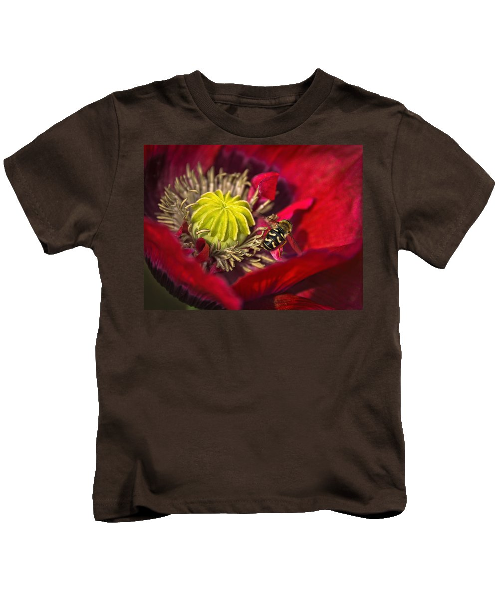 Wasp Kids T-Shirt featuring the photograph Poppy Visited Part II by Alex Hiemstra