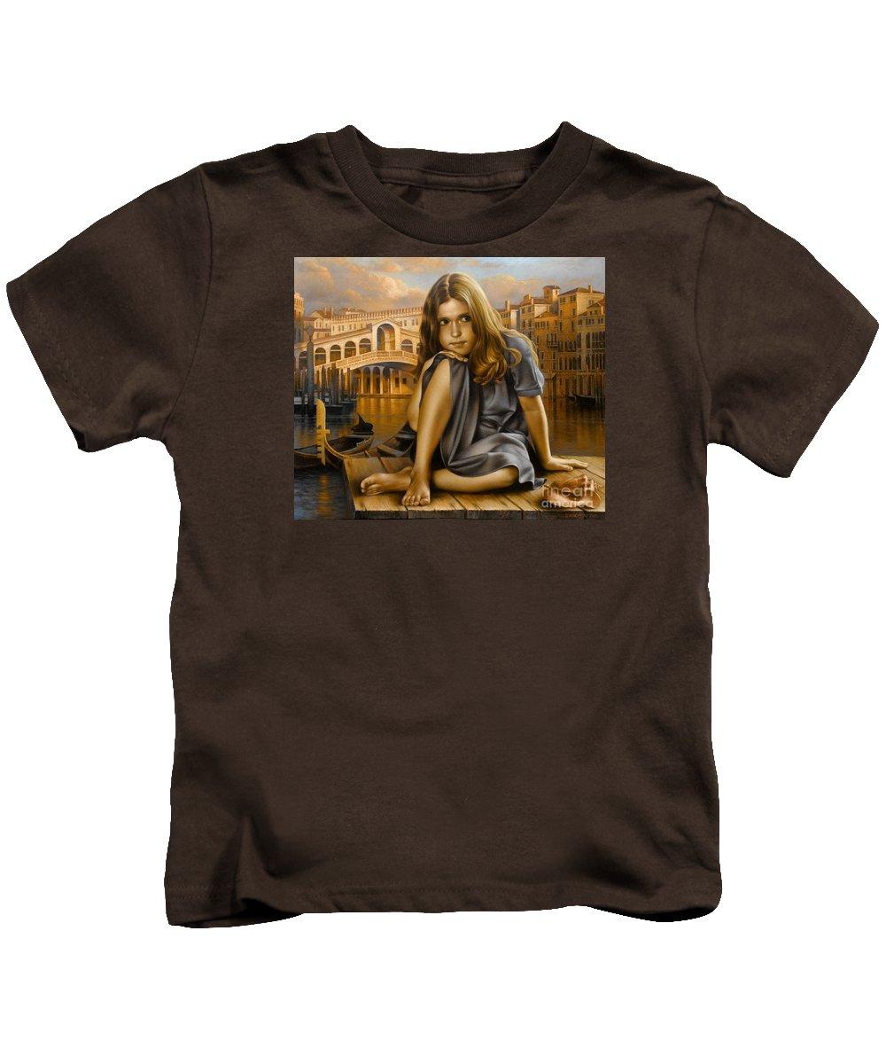 Portrait Kids T-Shirt featuring the painting Portrait by Arthur Braginsky
