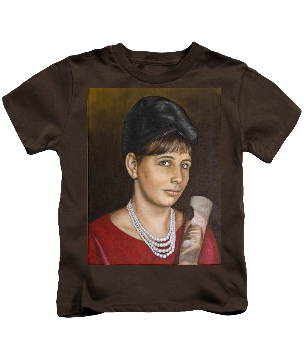 Portrait Kids T-Shirt featuring the painting Portrait Of My Mother Early Sixties by Rob De Vries