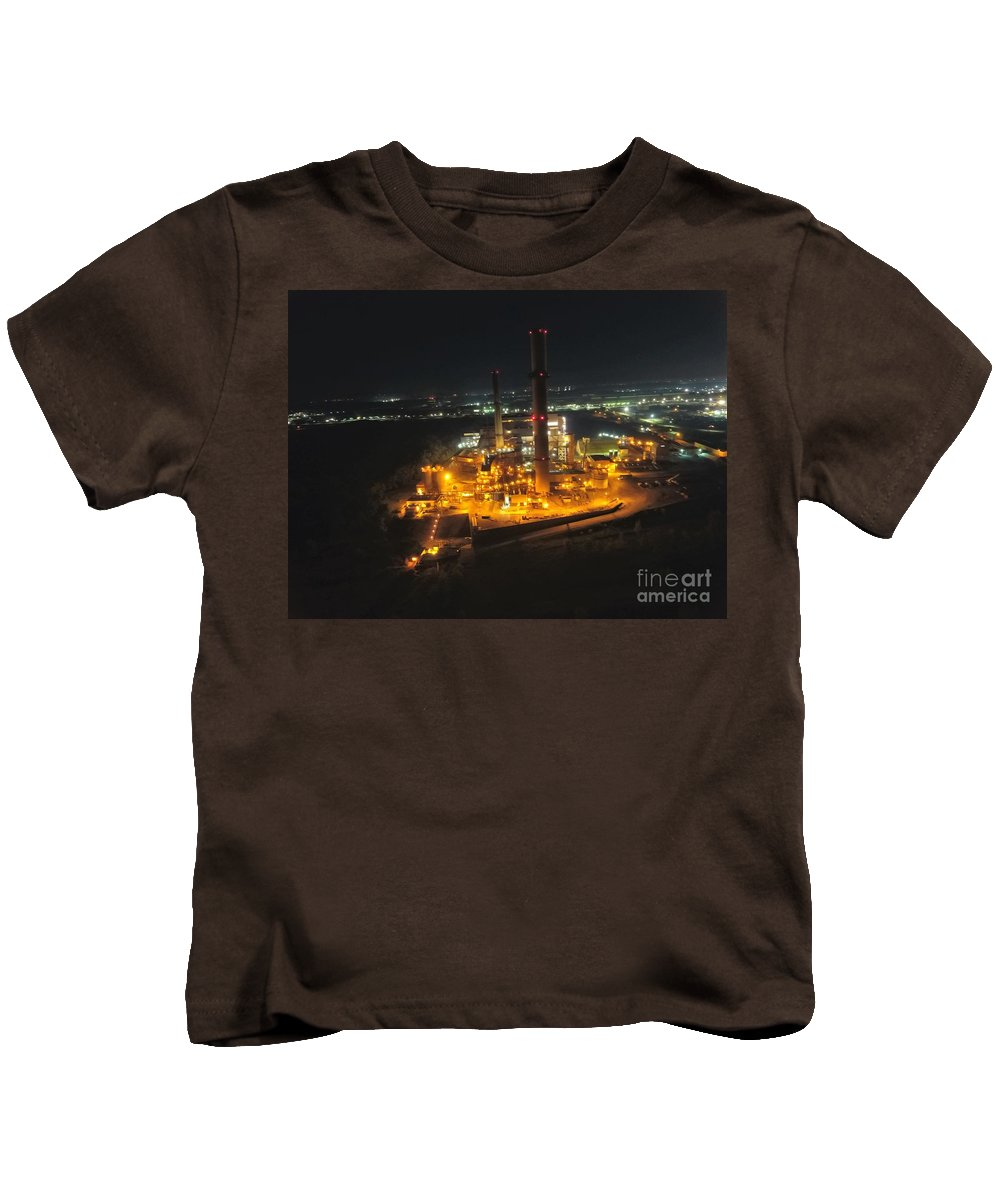 Indiana Power Plant Kids T-Shirt featuring the photograph Power Plant by Timeless Aerial Photography LLC
